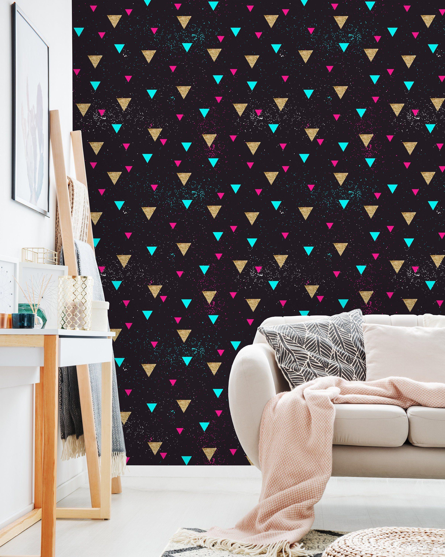 Dark Triangle Glitter Wallpaper Peel And Stick Wallpaper Wall Etsy Glitter Wallpaper Wall Wallpaper Peel And Stick Wallpaper