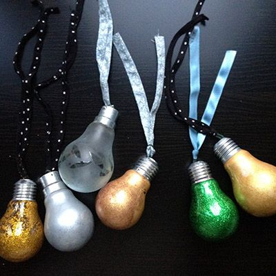 Light Bulb Baubles - Carefully paint them in any pattern or colour scheme you wish and hang from your tree.