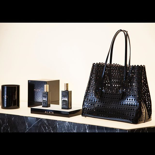 Azzedinealaiaofficial Alaia Parfum Launch At 55 Croisette Cannes Azzedine Bag With Laser Cut In The Same Design Of Parfume Bottle