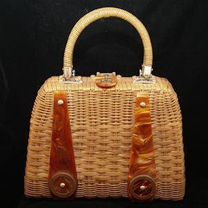 Miami Chic 1960s Caramel Lucite & Wicker Bag http://www.vintagevixen.com/store/pc/Miami-Chic-1960s-Caramel-Lucite-Wicker-Bag-104p45827.htm $28.00 #vintagepurse #handbag #vintage #wicker #lucite #brown #beige