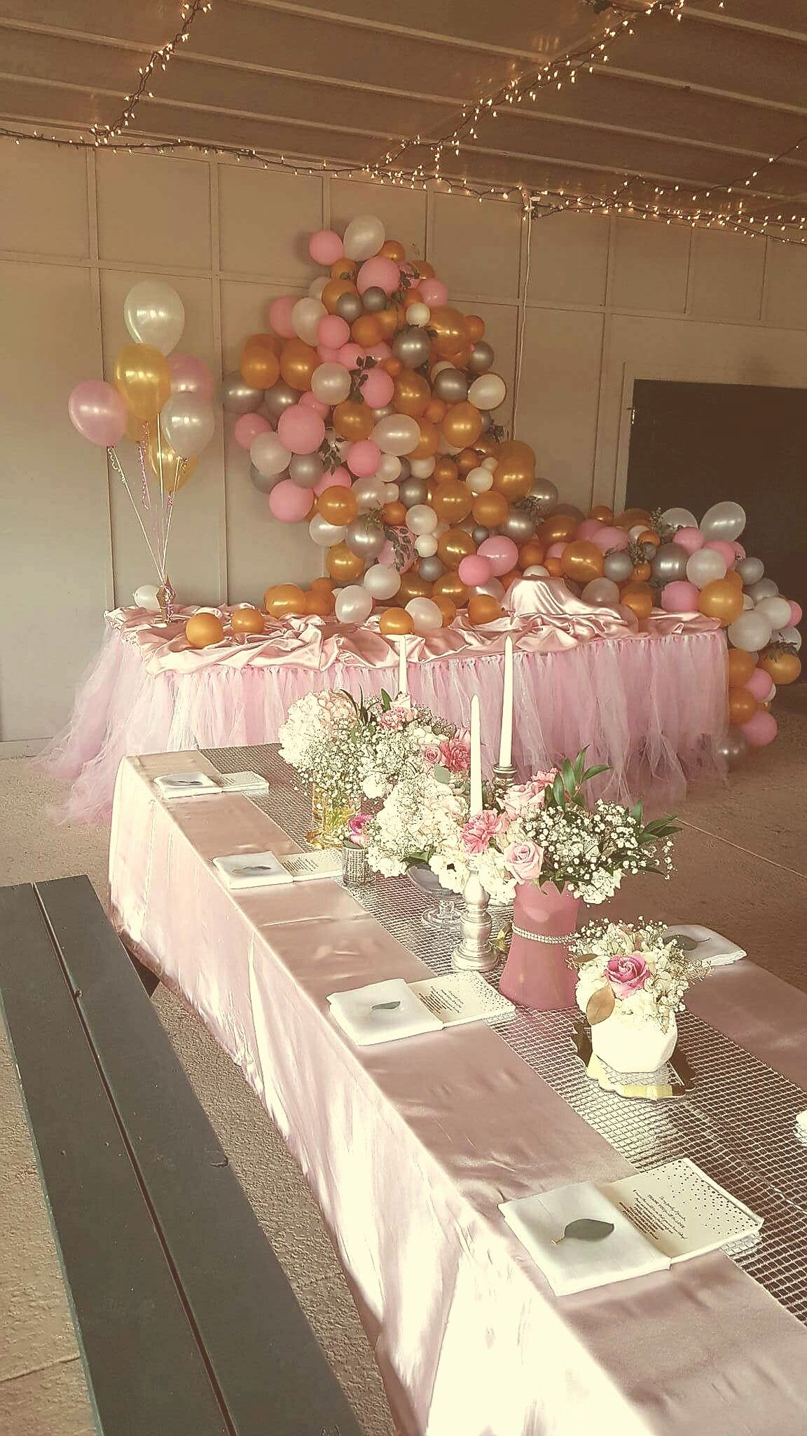Baby S First Birthday Pink Silver White And Gold Balloons For