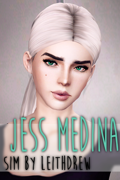 leithdrew:  → Jess Medina  I was going to hold out until I reached a specific follower milestone but I hate waiting and when I have something done I can't wait to give it out! So here, have little Jess! I've never claimed to be any good at making female sims, but Jess is one of the female sims that hasn't come out looking like satan spawn… Anyway! All her basic CC (skin, eye makeup, hair…etc) is included in the file, but feel free to change any of that! Just don't change her basic facial…