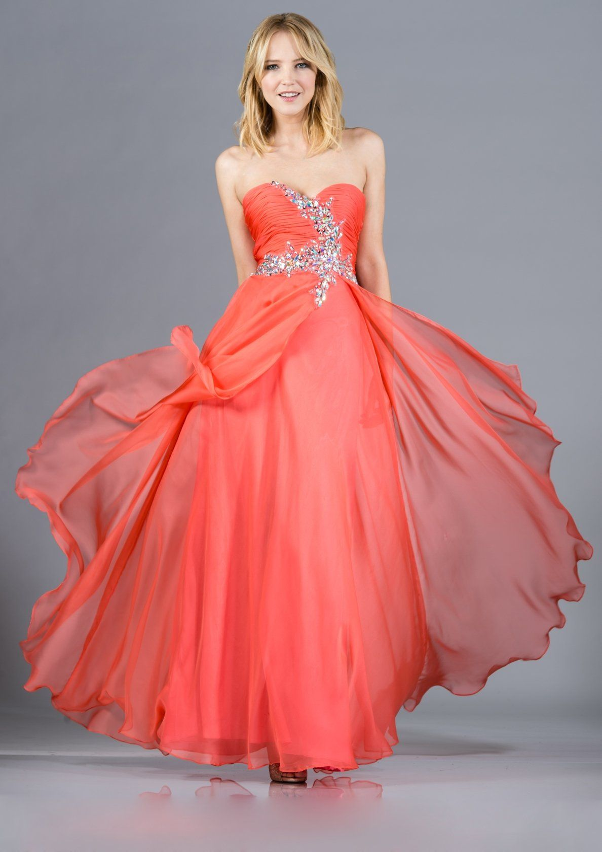 Double layer chiffon coral formal gown strapless long large jewels
