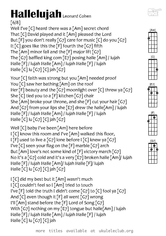Ukulele chords   Hallelujah by Leonard Cohen   Ukelele chords ...