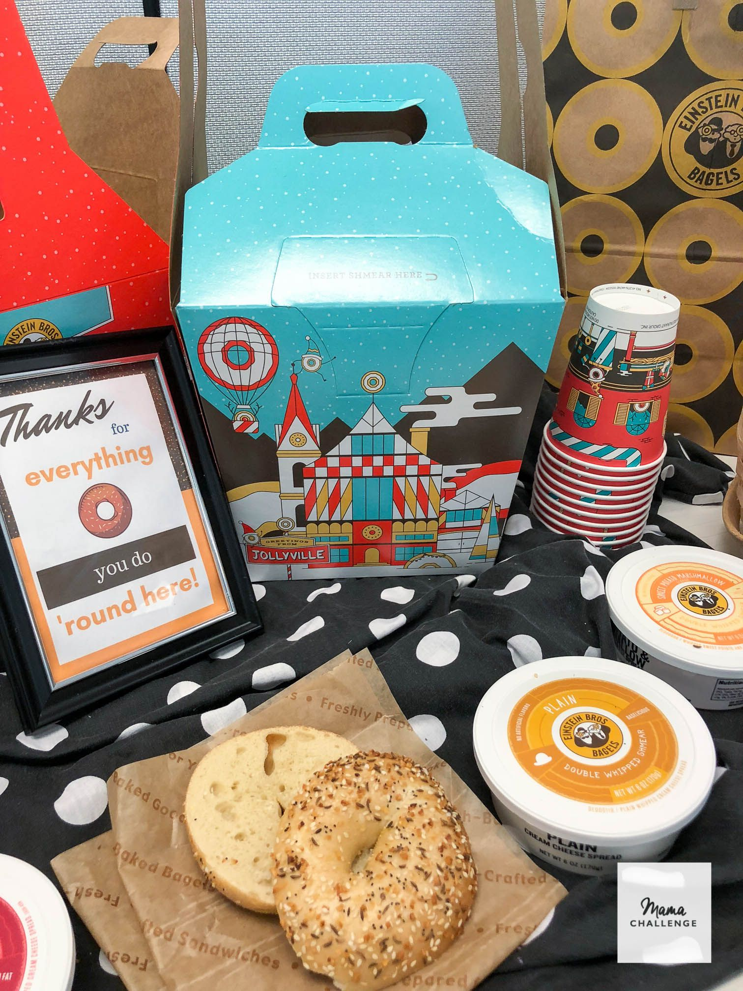 Thank You For Everything Bagel Printable Mamachallenge Real Solutions For Real Parents Dallas Blog Thank You Gifts Teacher Appreciation Gifts Coffee And Bagel