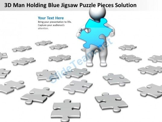 3d man holding blue jigsaw puzzle pieces solution ppt graphics, Modern powerpoint