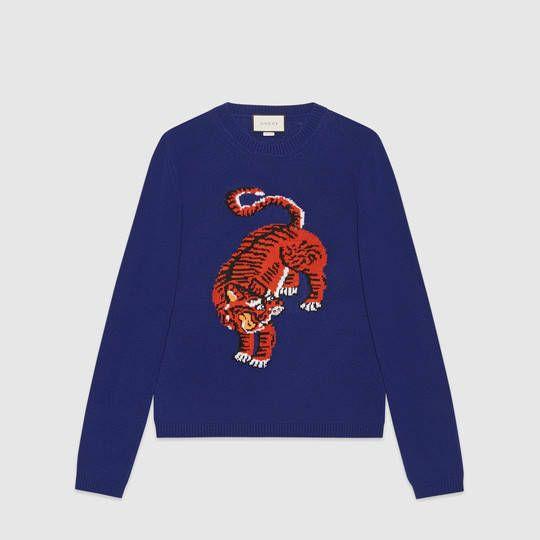 Gucci Maglione in lana con intarsio tigre