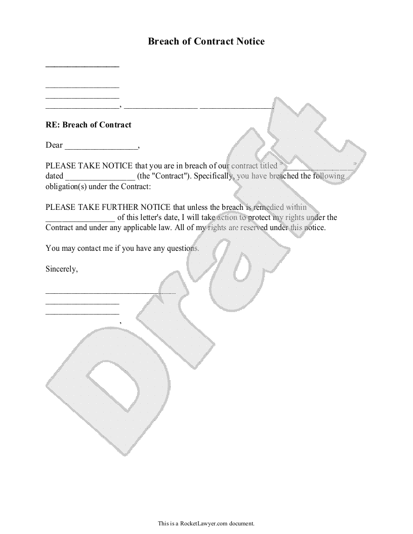 Breach Of Contract Notice Letter Sample