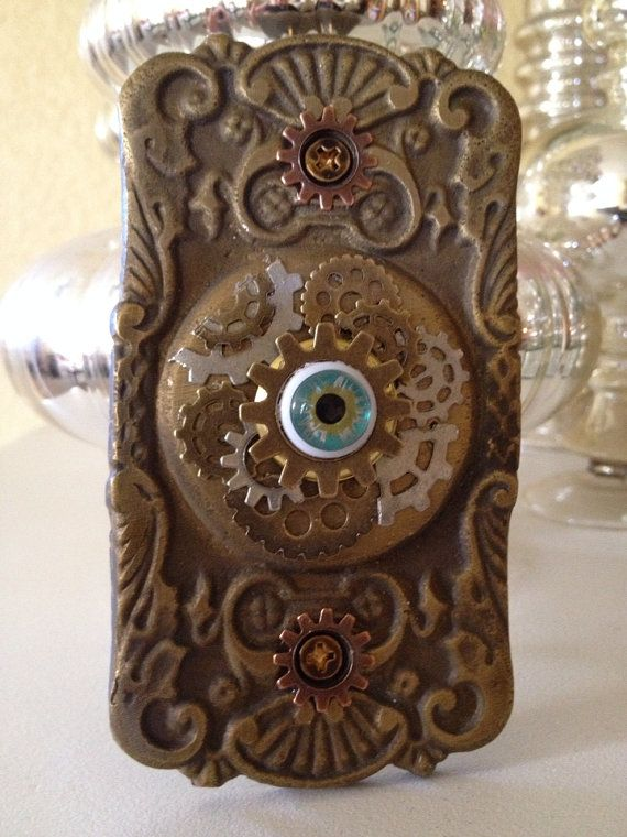 Decorative doorbell with hand painted glass eye. Old heavy brass possibly Victorian plate with applied metal gears. This fabulous doorbell is perfect for ... & Decorative doorbell with hand painted glass eye | Victorian and Glass