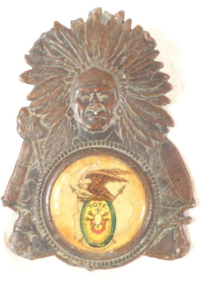 1890 Antique TOTE Order of Red Men Bronze Pocket Watch Fob Medal Whiteheaad Hoag #whiteheadhoag