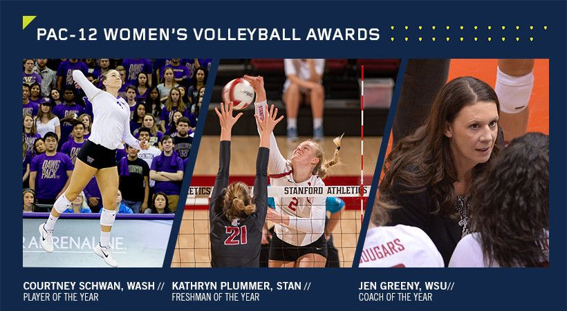 Washington S Courtney Schwan Named Player Of The Year Stanford S Kathryn Plummer Named Freshman Of The Year Volleyball News Women Volleyball Coach Of The Year