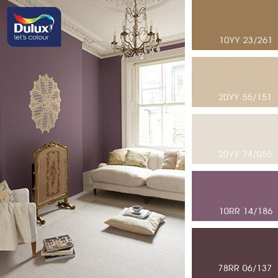 Love the over large doiley on the wall look out for for Purple feature wallpaper living room