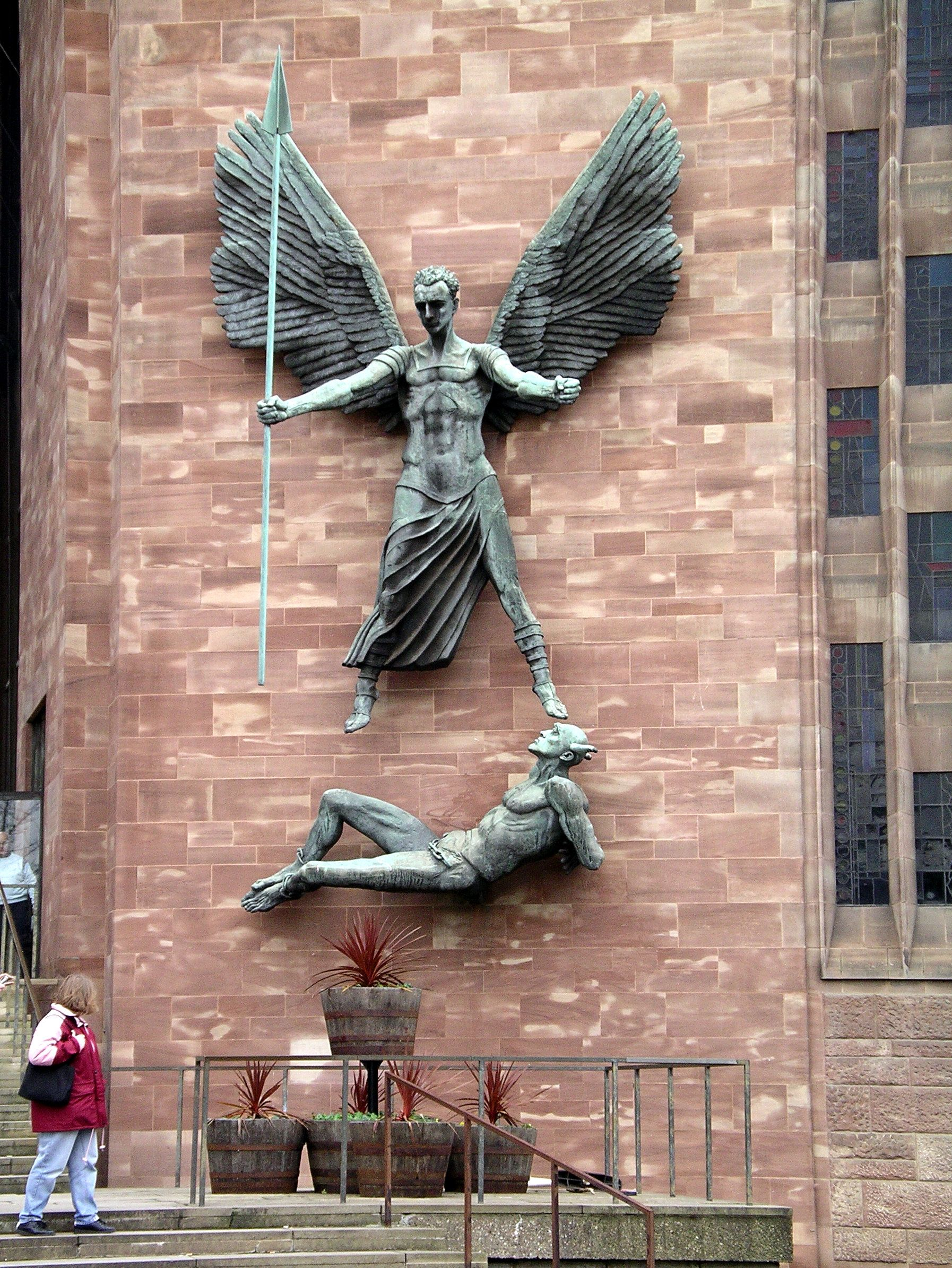 Statue of St Michael and the Devil Coventry Cathedral