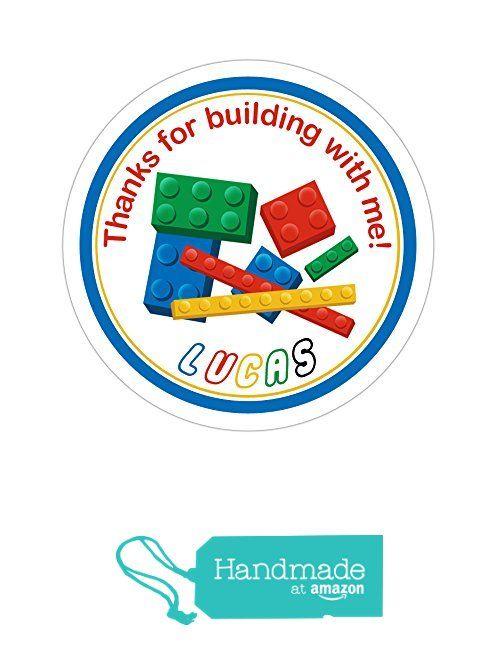 Personalized customized birthday party favor thank you stickers lego building blocks round labels choose your size stickers
