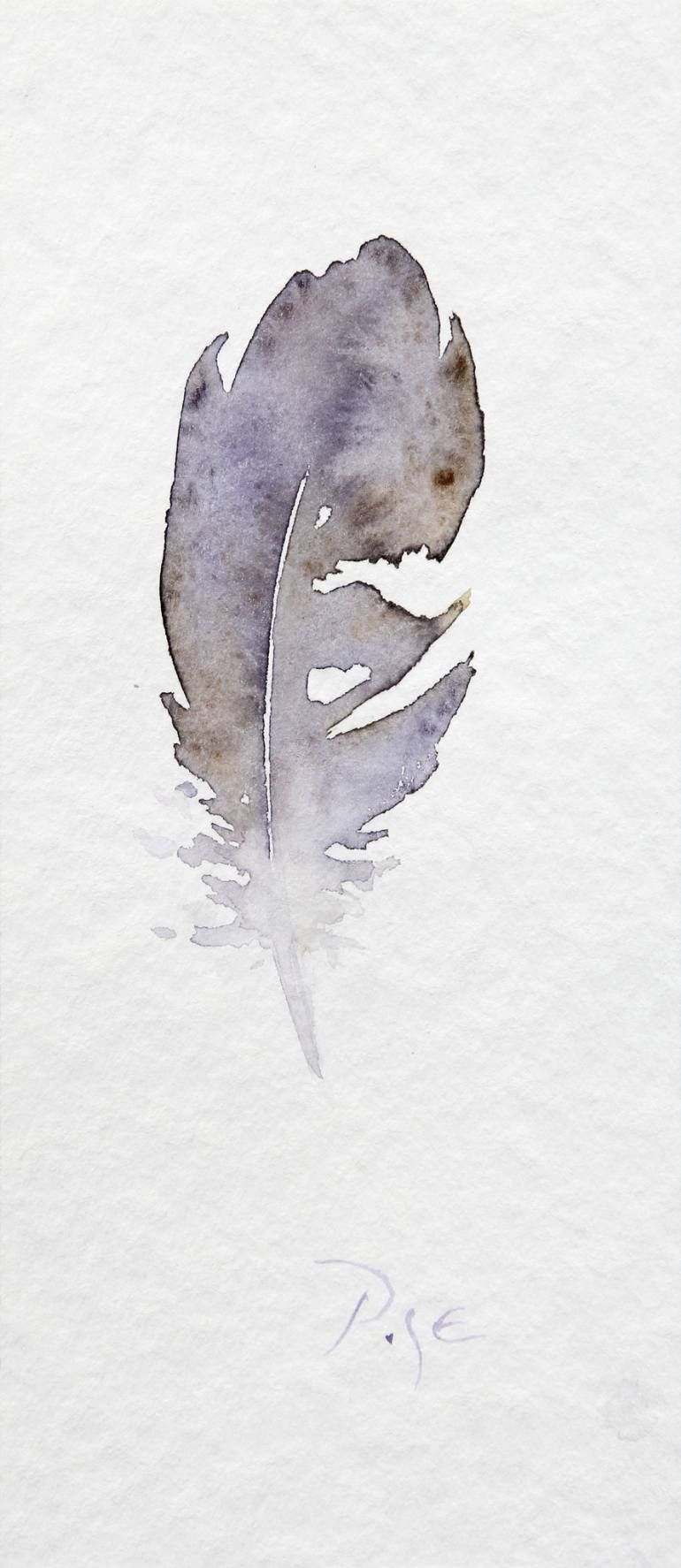 Little Feather Painting Watercolor Art Feather Painting Art