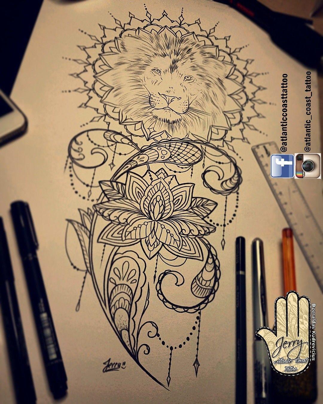 beautiful lion tattoo idea with mandala ornamental pretty detail and patterns by dzeraldas. Black Bedroom Furniture Sets. Home Design Ideas