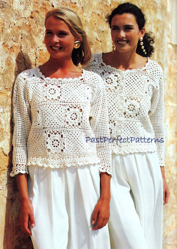 Vintage Crochet Pattern Granny Square Tops Sweater Jacket Vest Top ...