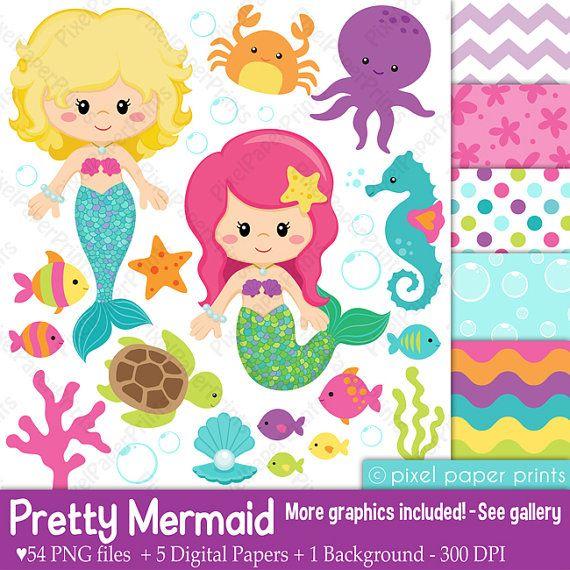 Pretty Mermaid  Clipart and Digital paper set