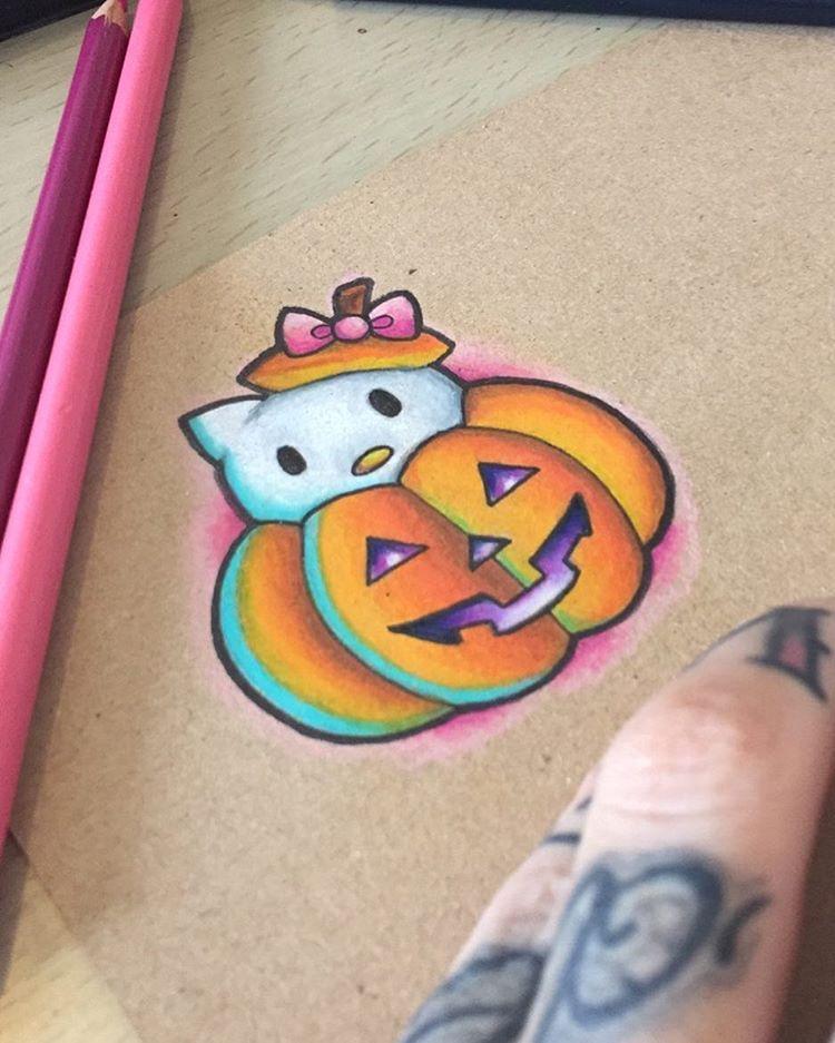 See This Instagram Photo By Jessica Bank Art 94 Likes Cute Halloween Tattoos Hello Kitty Tattoos Halloween Tattoos
