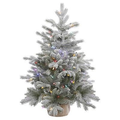 3ft White Christmas Tree.3ft Pre Lit White Flocked Pine Artificial Christmas Tree