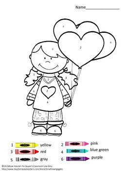 Valentine\'s Day, Color by Code Special Education Math, Preschool ...