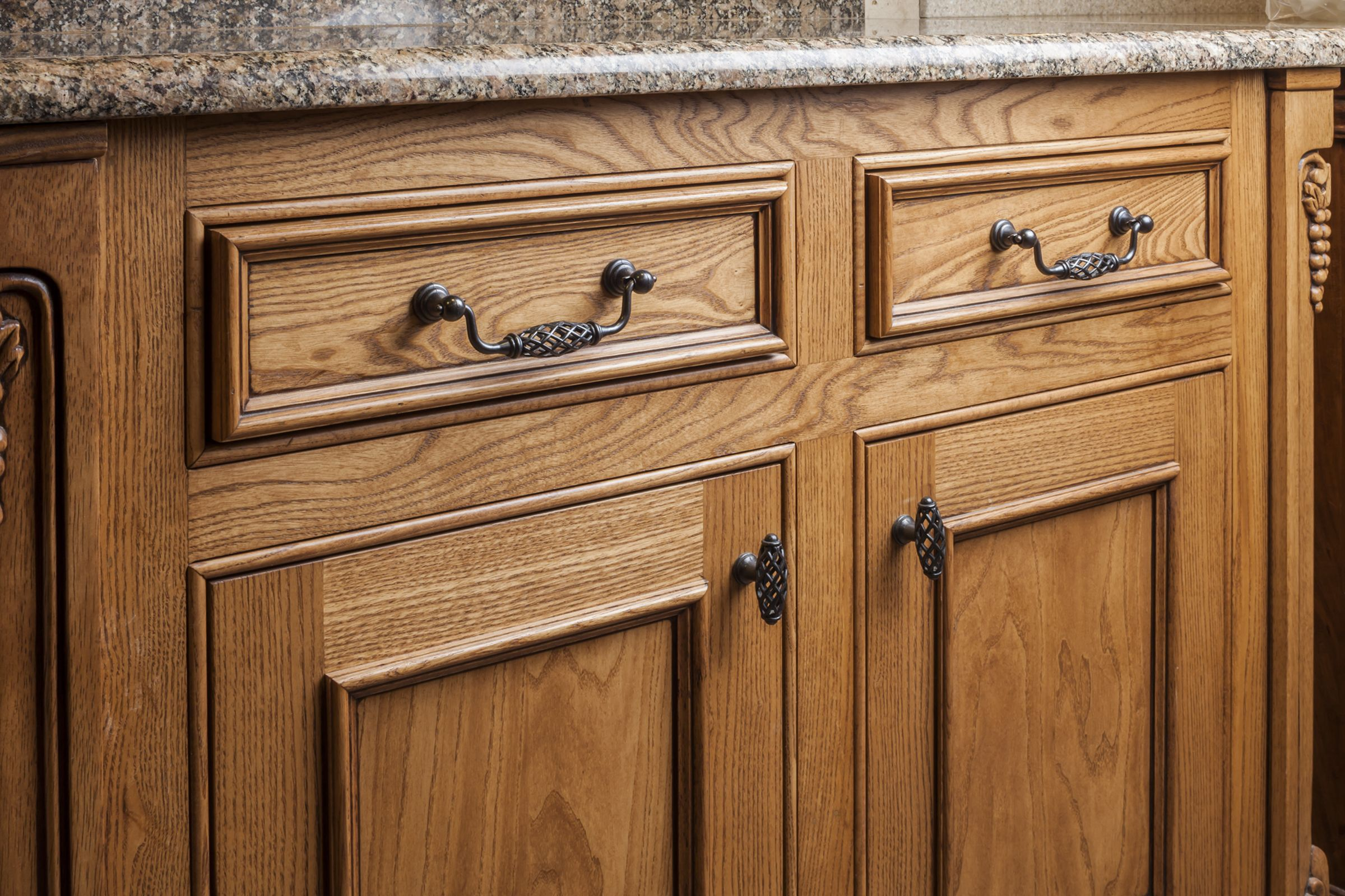 marvelous Tuscan Kitchen Cabinet Hardware Part - 15: Tuscany cabinet knobs and pulls from Jeffrey Alexander by Hardware  Resources. (749-128DACM u0026 749DACM shown in use)