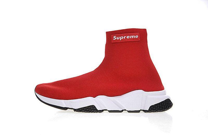 Genuine BALENCIAGA Designer Ribbed Sports Socks RED UNISEX Medium//Large