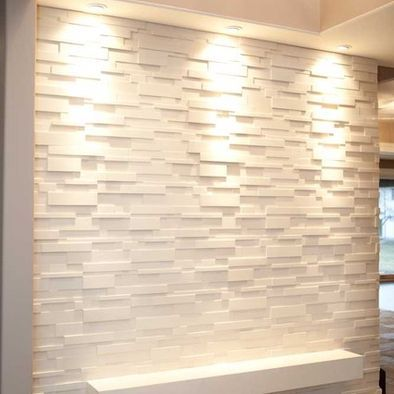 Professional white feature wall at office entrance for Feature wall tile ideas