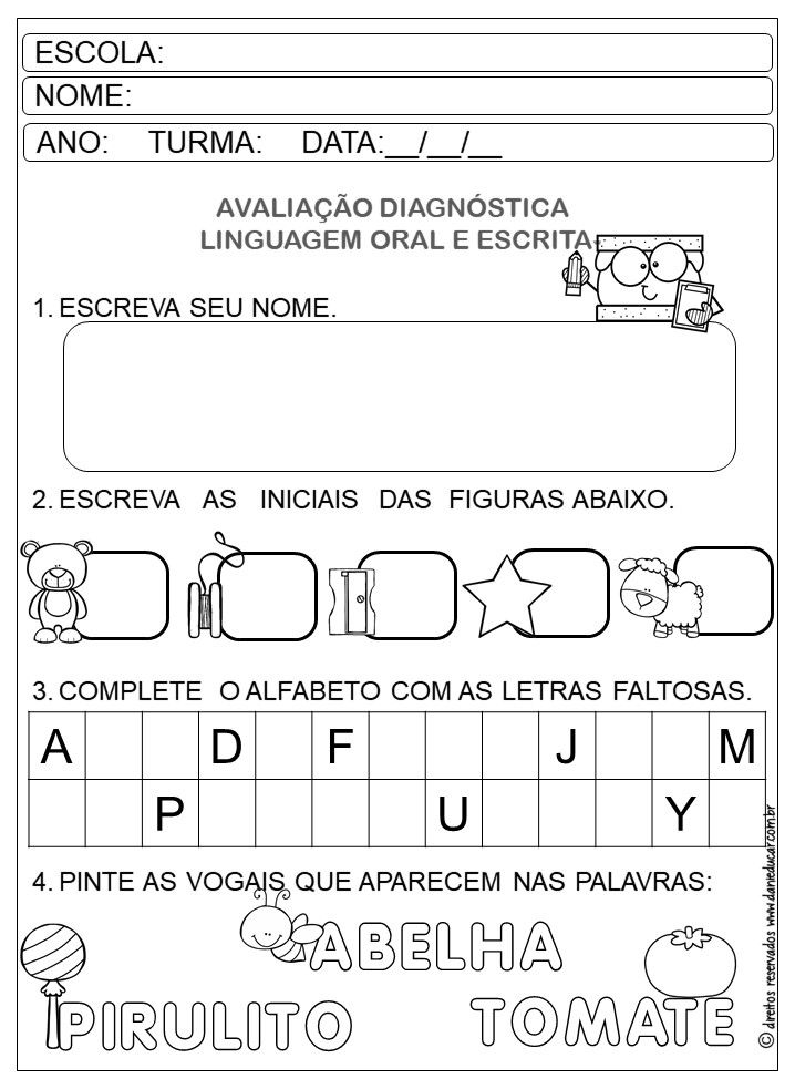 Avaliacao Diagnostica Pre Escolar Em 2020 Avaliacao Educacao