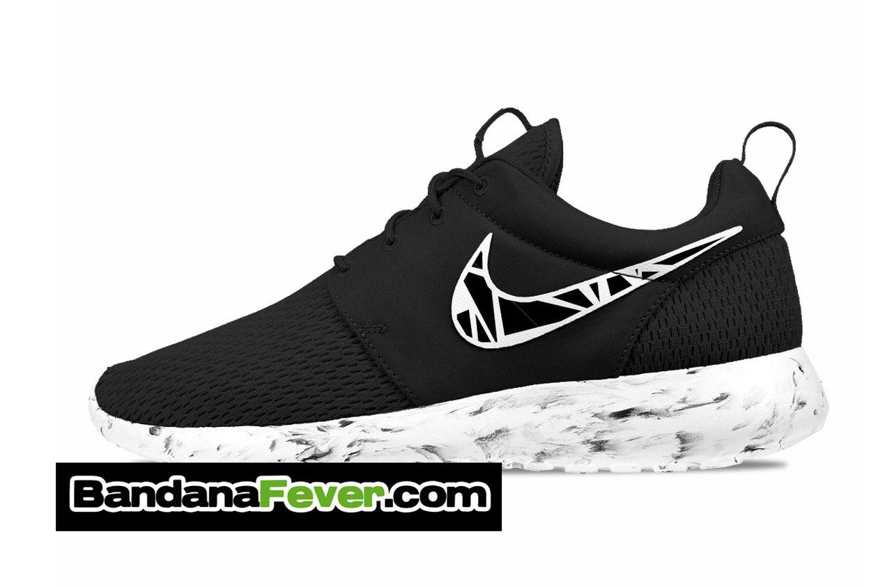 Bandana Fever - Nike \u0026quot;White Beehive\u0026quot; Roshe Run Men\u0026#39;s Black/Anthracite/White Sides by Bandana Fever, $199.99 (http://store.bandanafever.com/nike-whi\u2026