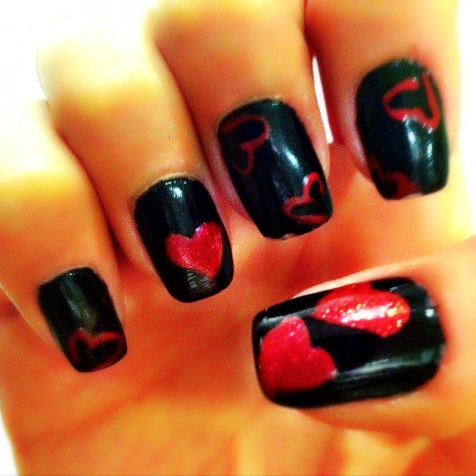 Red & black valentine nails | My nail designs | Pinterest
