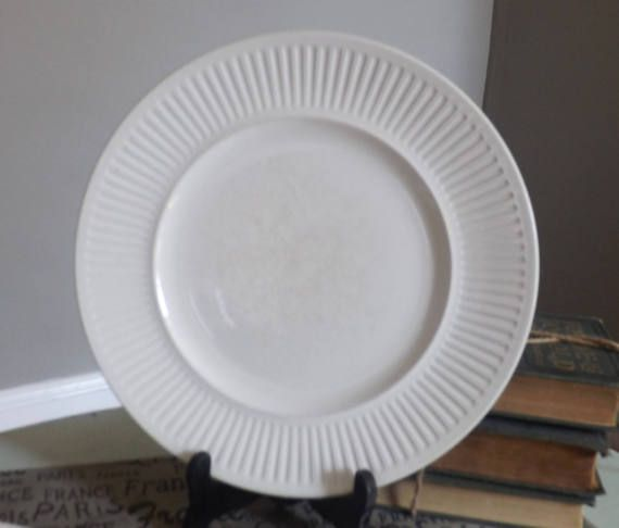 Set Of 3 Vintage C 1960s Johnson Brothers Athena White Classic Ironstone Ribbed Dinner Plates Dinner Plates Johnson Brothers Plates
