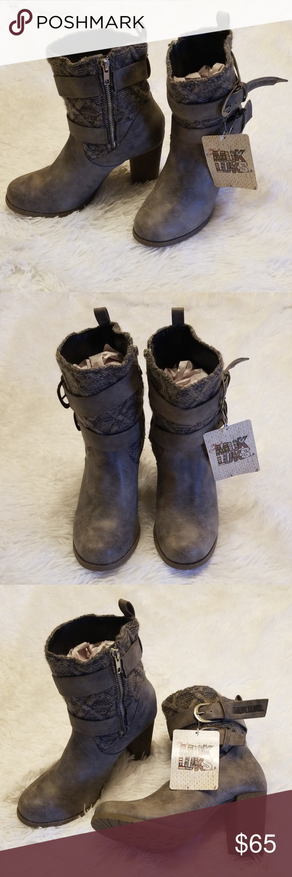 Muk Luk ankle boots NWT Muk Luk Katy ankle boots. This is your fall/ winter must have! Absolutely adorable. Pair it with a sweater and skinny jeans. Size 8.  Item H10 Shoes Ankle Boots & Booties #skinnyjeansandankleboots
