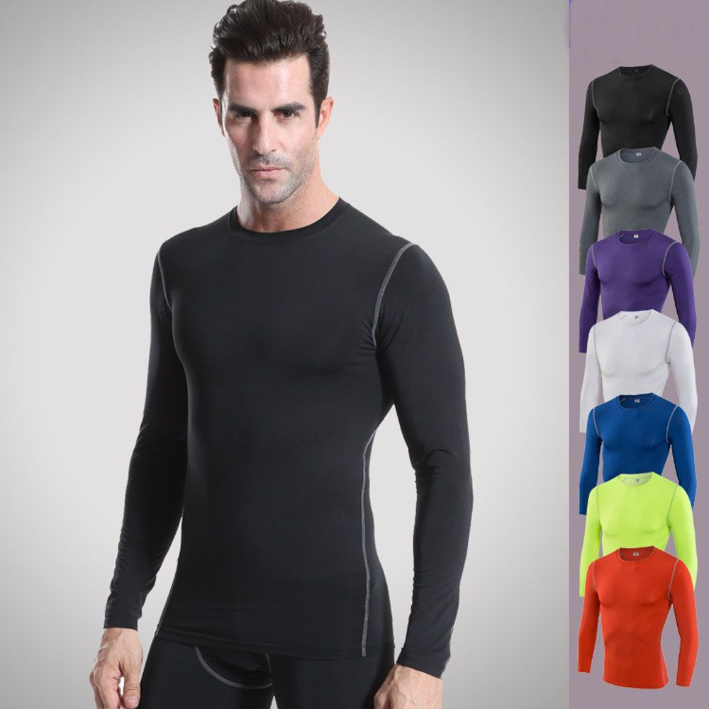 Men/'s Compression Shirt Tops Running Gym Clothes Tights Athletic Wear Quick-dry