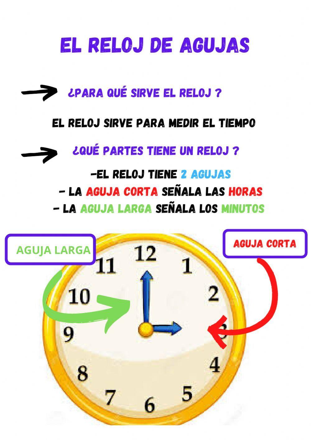 El Reloj De Agujas La Hora En Punto E Y Media Ficha Interactiva Reloj De Agujas Frases Para Alumnos Aprender La Hora