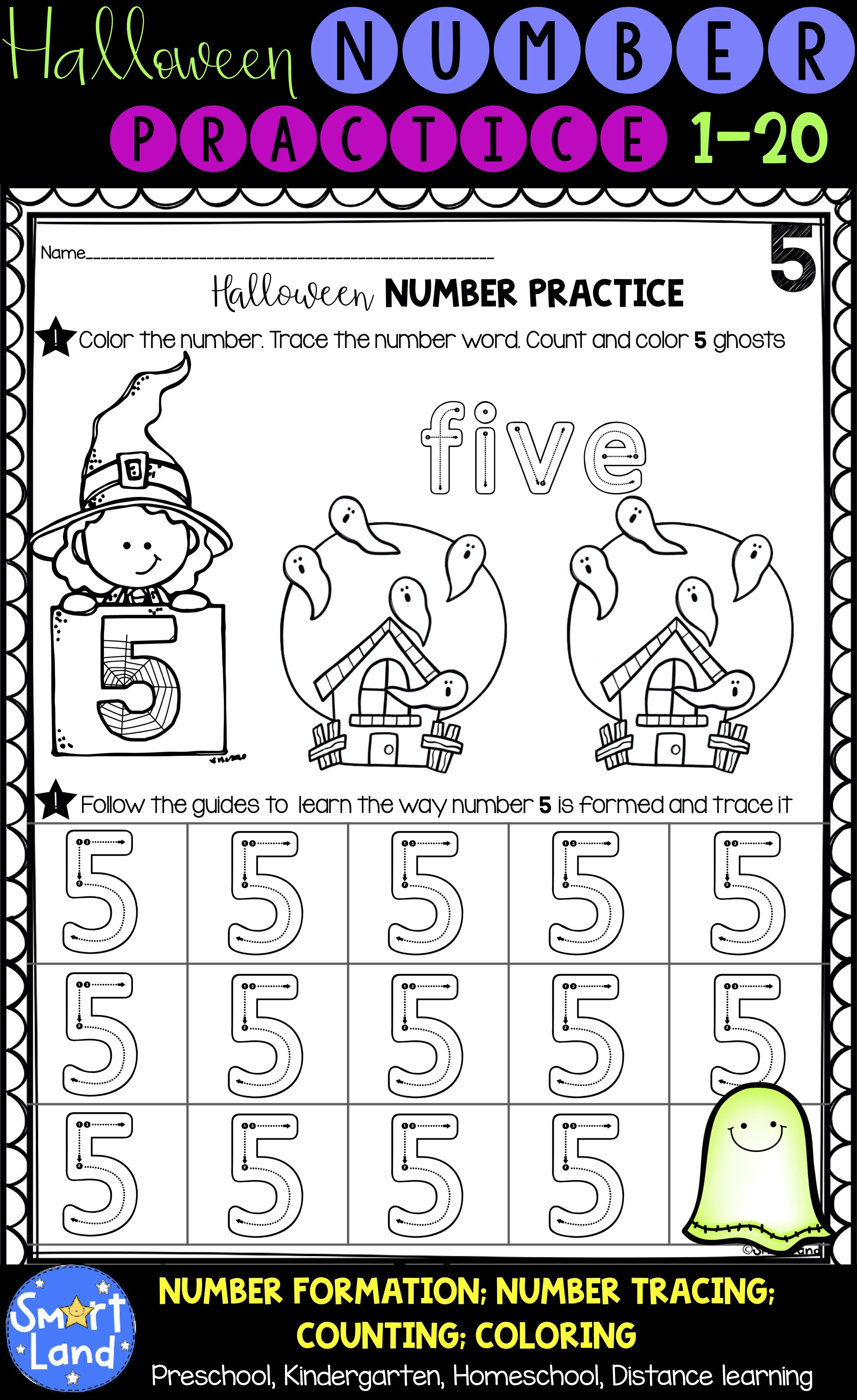 Halloween Numbers 1 20 Handwriting And Counting