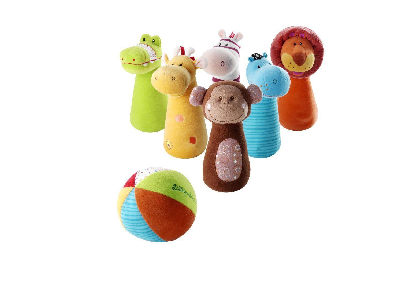 Nos 6 amis de safari se sont transformés en jeu de quilles. Voulez-vous renverser Arnold à laide de la balle douce et colorée ? #quilles #lilliputiens #pleinair #boules