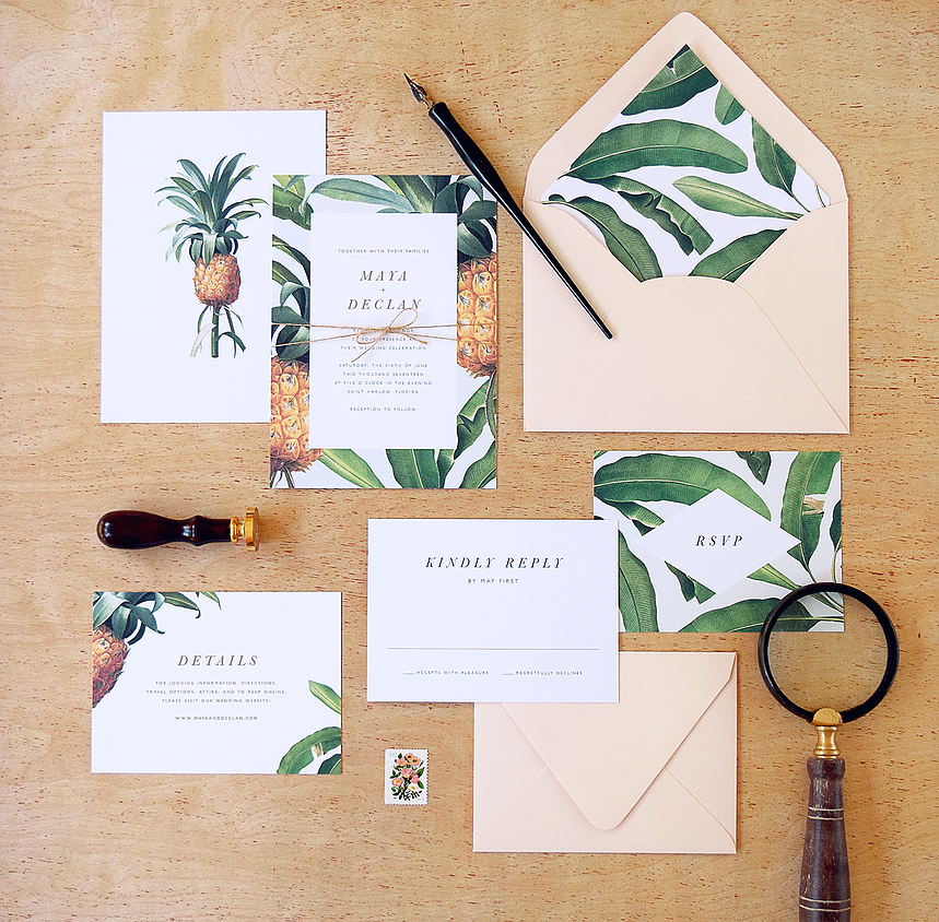 Tropical wedding invitations by rachel marvin creative more