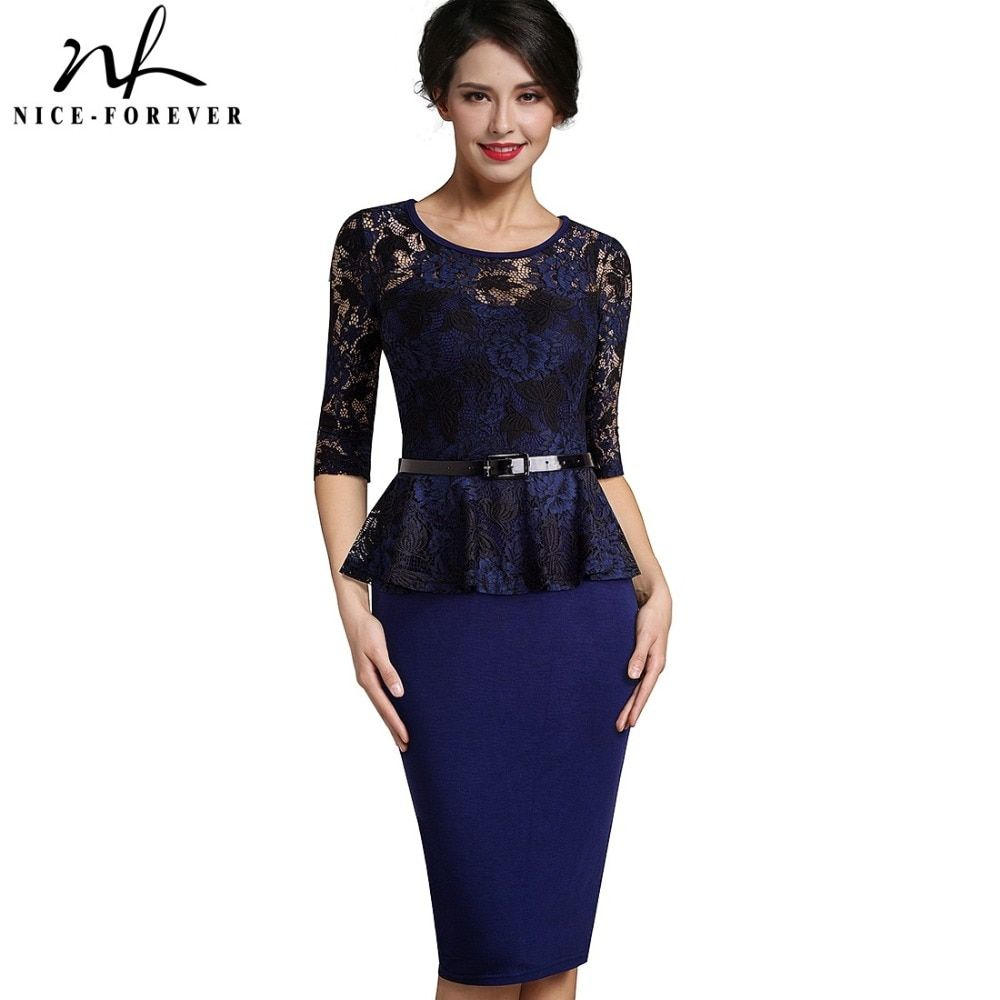cbc0ff9462434 Nice forever Vintage Ladylike Sexy Lace top 3/4 Sleeve O Neck Peplum ...