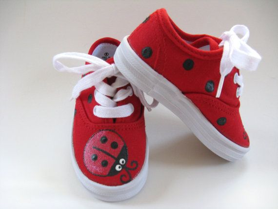Girls Ladybug Shoes, Ladybug Theme Birthday Party, Hand Painted Red Canvas  Sneakers, Ladybird Birthday, Baby and Toddler