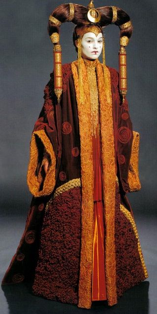 Queen Padme Amidala in formal gown on Coruscant
