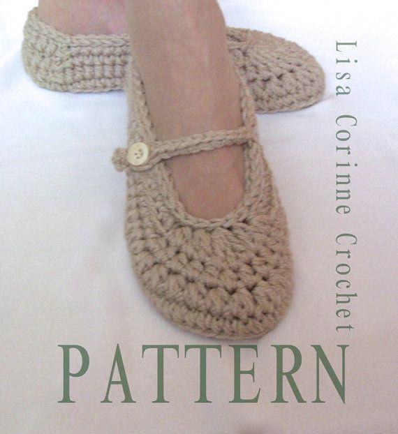 Womens House Slippers Crochet Slippers PATTERN Crochet