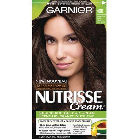 Garnier Nutrisse Cream Espresso Browns 400 Dark Neutral Brown Nourishing Colour Cream 400 Nourishing Hair Hair Color Brown Hair Colors