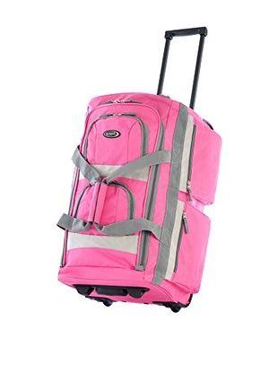 Olympia 8-Pocket Rolling Duffel Bag, Hot Pink