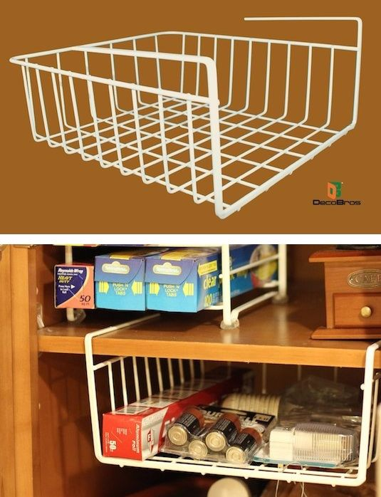 #21. Under-Shelf Basket -- 55 Genius Storage Inventions That Will Simplify Your Life #smallkitchenorganization