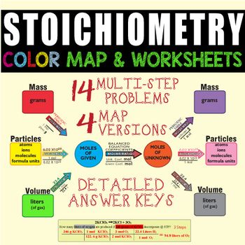 Stoichiometry Color Map & 2 Worksheets ~GREAT LEARNING TOOL