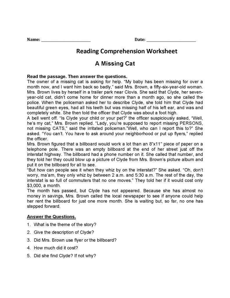 4th Grade Reading Comprehension Worksheets Reading