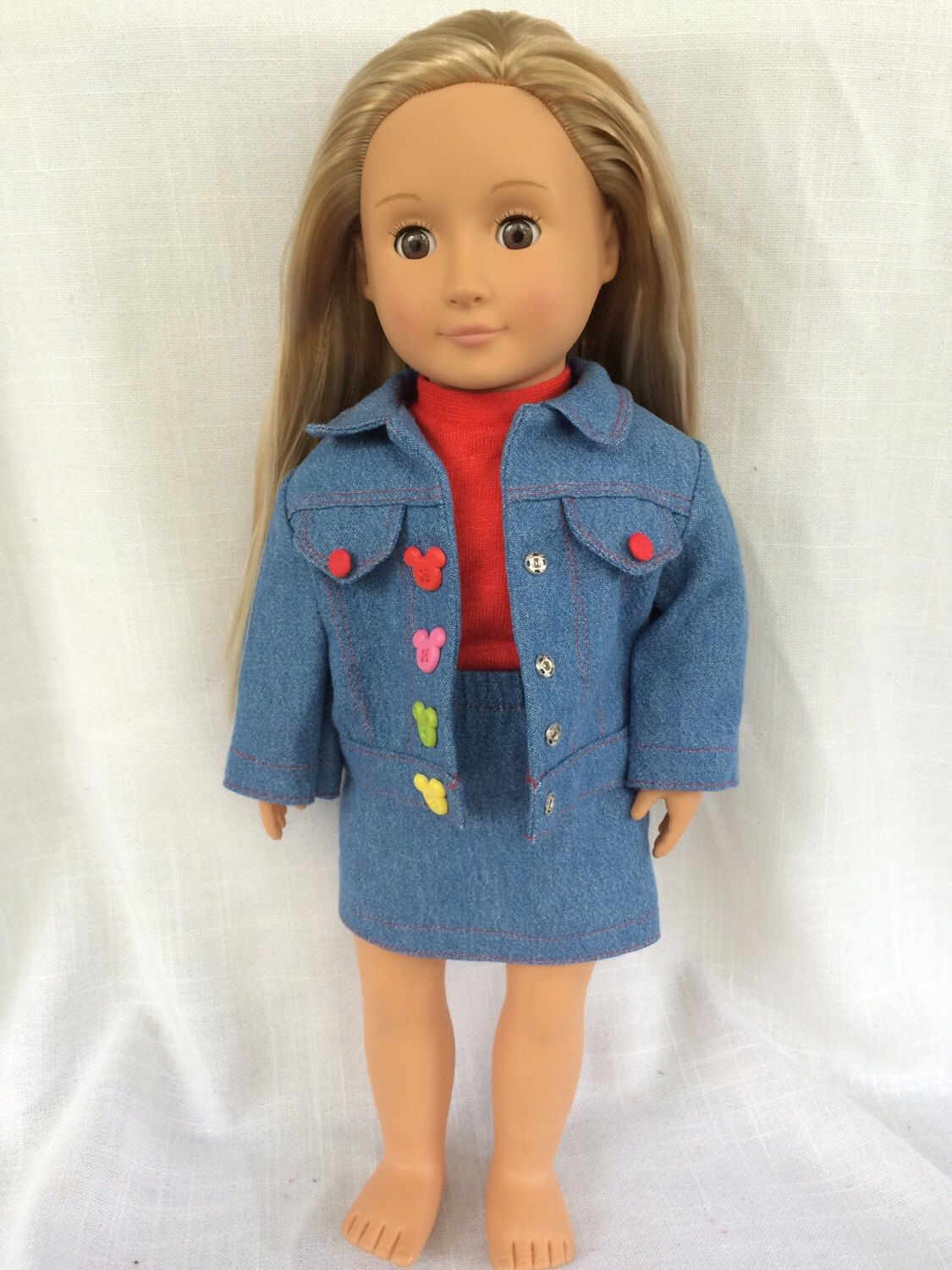 Denim Skirt, Jacket, and Pants with Red Blouse Outfit for 18 Inch Dolls by BEdolls on Etsy https://www.etsy.com/listing/274398424/denim-skirt-jacket-and-pants-with-red