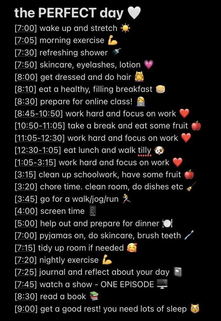 Perfect day schedule and routine!