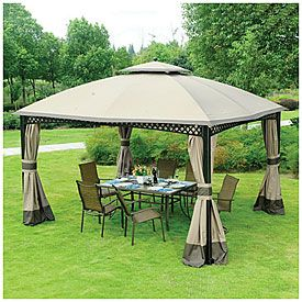 View Wilson Fisher 10 X 12 Windsor Dome Gazebo Deals At Big Lots Gazebo Outside House Paint Ponds Backyard